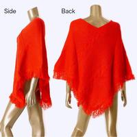 ケーブル編みフリンジポンチョ:RED