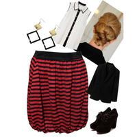 RED&BLACK☆ボーダーバルーンスカート