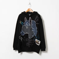Hand Painted Over Hoody / Black / No.66 🦄