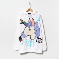Hand Painted Over Hoody / White / No.88