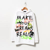 Hand Painted Over Hoody / White / No.68