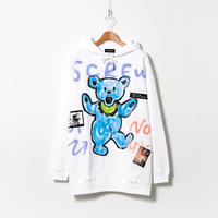 Hand Painted Over Hoody / White / No.101