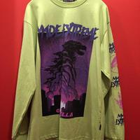 【OUTLET】ゴ◯ラ プリント ロングスリーブTシャツ ライムグリーン 緑 長袖 tb-190409-8