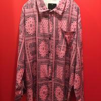 バンダナ柄プリントシャツ ペイズリー柄 ピンク tb-190902-44