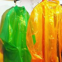 PVCコート レインコート オレンジ グリーン