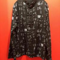 漢字プリント長袖チャイナシャツ tb-190902-7