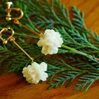 "【ivory series】Flower Earrings(Pierces) ""flower cone"""