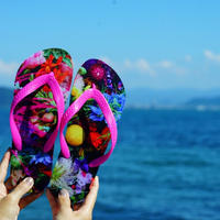 "【Summer museum】""flower trip"" beach sandals(PINK)"