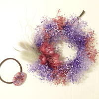 BABY'S BREATH  MINI WREATH (pink&lavender)ヘアアクセサリー付