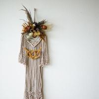 【Summer museum】macrame×flower tapastry M(beige1)