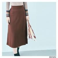 【全4色】フロントスリットAラインロングスカート