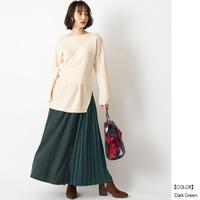 【全4色】ピーチスキン サイドプリーツレイヤードスカート