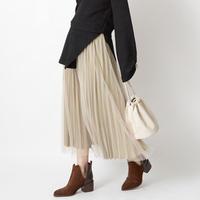 ダブルプリーツ ふんわりボリュームロングスカート