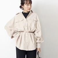 【全4色】薄コーデュロイ パフ袖オーバーシャツ