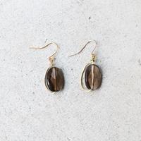 Around-hoop Gemstone Earrings (Smokey quartz)