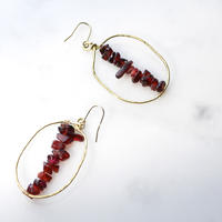 Big-hoop  Gemstone Earrings (Garnet)