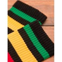 SOCCO STRIPE CrewSock BLACK   Rasta Stripe