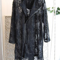【limited item】SHIROMA 17S/S BREAK embroidery gown mods coat -black×black-