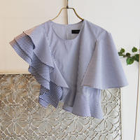 SHIROMA 17S/S BREAK ruffle stripe top