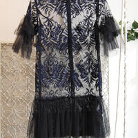 SHIROMA 17S/S BREAK embroidery tulle dress -black-