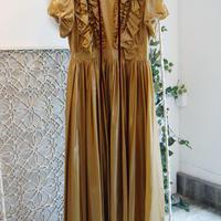 SHIROMA 17-18A/W Female punks nylon puff sleeve dress -mustard-