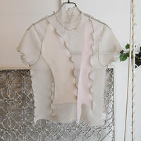 kotohayokozawa pleats see-through high neck top -beige-
