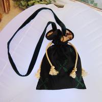 SHIROMA 17-18A/W Female punks shoulder bag -black × green-
