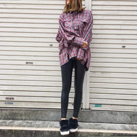 asymmetry back frill check shirt