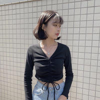 《予約販売》v neck shirring long T-shirt