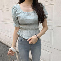《予約販売》square frill puff blouse