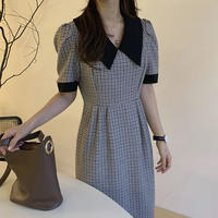 《予約販売》big collar bi-color check long one-piece