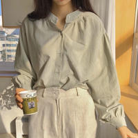 《予約販売》china collar balloon sleeve shirring blouse