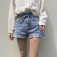《予約販売》asymmetry  ribbon denim short pants