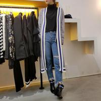 bicolor knit long cardigan