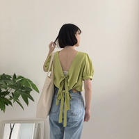 《予約販売》back double ribbon blouse