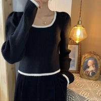 《予約販売》line bi-color puff sleeve cropped knit