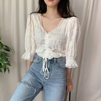 《予約販売》shirring lace blouse