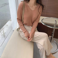 《予約販売》v neck pretzel knit