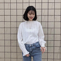 《予約販売》high neck lace blouse