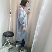 stripe check mix shirt one piece