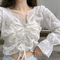 《予約販売》cropped shirring blouse