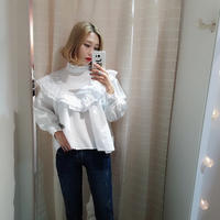 shadow border frill blouse