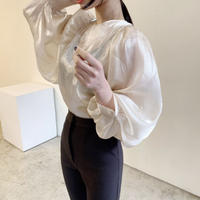 《予約販売》see-through silk  puff sleeve balloon blouse