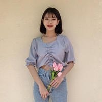 《予約販売》check shirring blouse