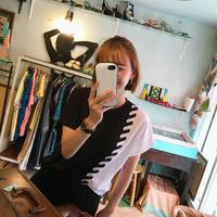モノトーンユニークTシャツ/ブラック