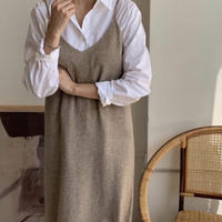 《予約販売》wool 80% v neck long one-piece