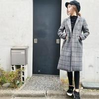 herringbone check color double coat