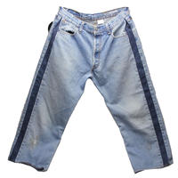 Sunny side up (サニーサイドアップ) ユーズドリメイク SIDE LINE DENIM PANTS BLUE type 3 - size 2 -