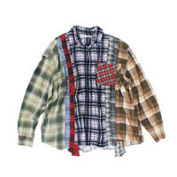 Rebuild by Needles 7 CUT Flannel Shirt WIDE - NVYCHK ASORT