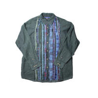 Rebuild By Needles Ribbon Flannel Shirt INDIGO ×GREEN - size M -